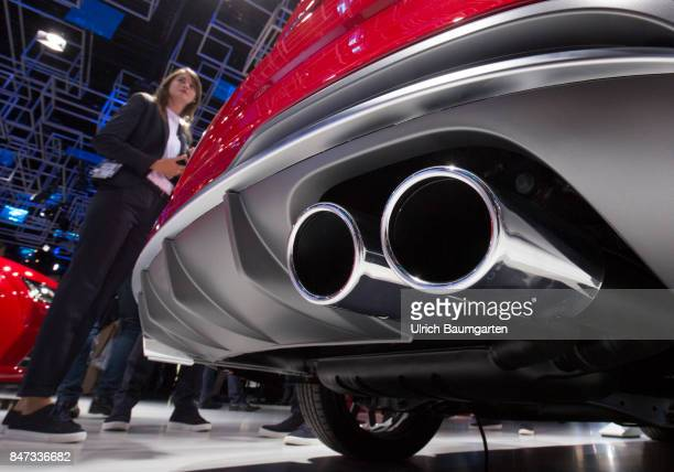 International Motor Show 2017 in Frankfurt Symbol photo on the topic environment exhaust gas scandal crime manipulation etc The photo shows exhaust...