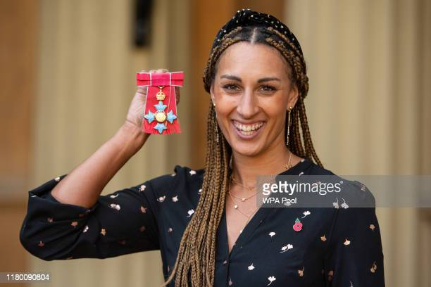 International netball player Geva Mentor with her CBE medal presented by the Duke of Cambridge at an investiture ceremony at Buckingham Palace on...