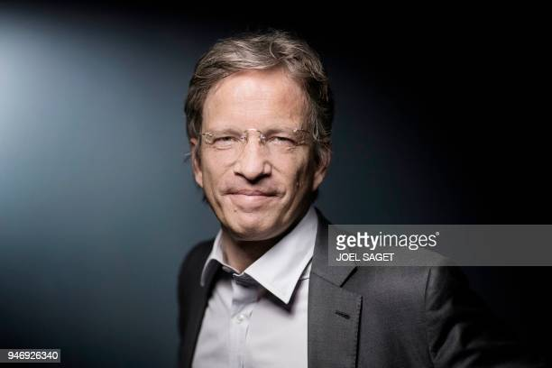 International News Agency Agence France Presse new President and CEO Fabrice Fries poses during a photo session in Paris on April 16 2018 Fabrice...