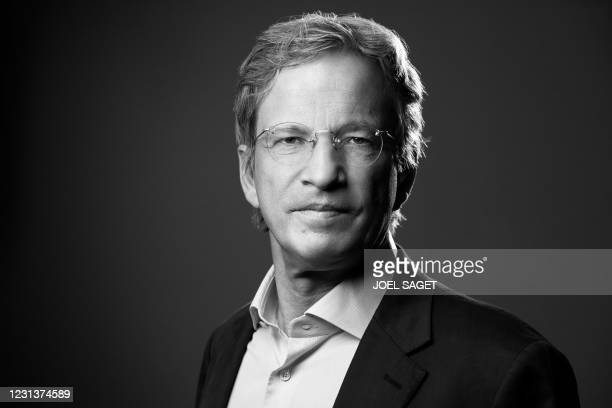 International News Agency Agence France Presse President and CEO, Fabrice Fries poses during a photo session in Paris on February 22, 2021.