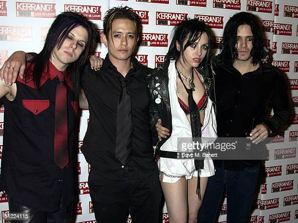 International Noise Conspiracy pose in the media room at the 11th annual Kerrang Awards 2004 at The Brewery East London on August 26 2004 in London...