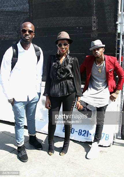 BET International nominees Black Coffee MzVee and Diamond Platnumz attend 106 Park sponsored by Apple Music during the 2016 BET Experience at...