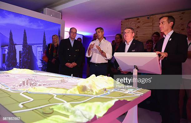 International Olympic Committe President Thomas Bach watches a presentation by Mayor of Los Angeles Eric Garcetti and Chairman of the LA 2024 Casey...