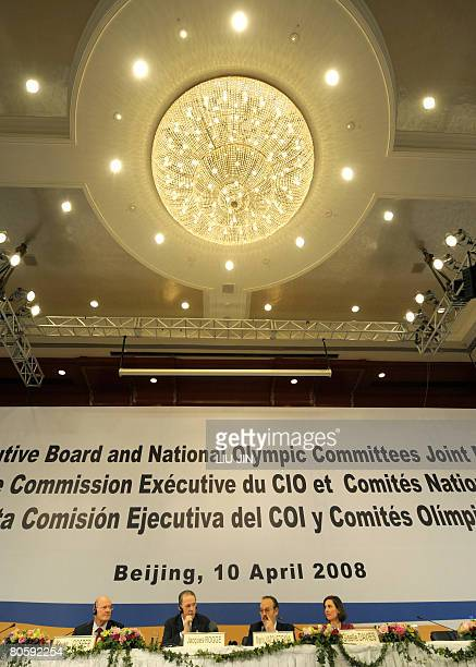 International Olympic Committee chief Jacques Rogge takes part in a press conference for a joint meeting between the Association of National Olympic...