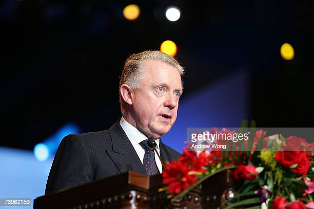 International Olympic Committee Coordination Commission Chairman Hein Verbruggen speaks at the opening ceremony of SportAccord April 24 2007 in...