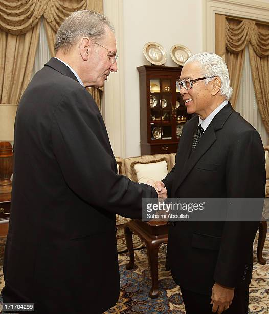 International Olympic Committee , Dr Jacques Rogge calls on the Singapore President, Tony Tan Keng Yam at the Istana on June 28, 2013 in Singapore.