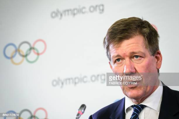 International Olympic Committee Medical and Scientific Director Richard Budgett addresses a press conference on the sideline of an executive meeting...