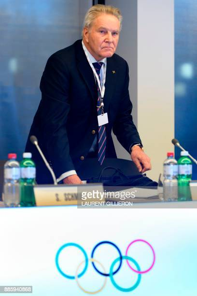 International Olympic Committee member Denis Oswald of Switzerland arrives for the opening session of the first day of the executive board meeting of...