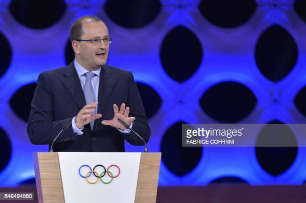International Olympic Committee member Patrick Baumann speaks during the 131st IOC session in Lima on September 13 2017 The ICO meeting in Lima will...