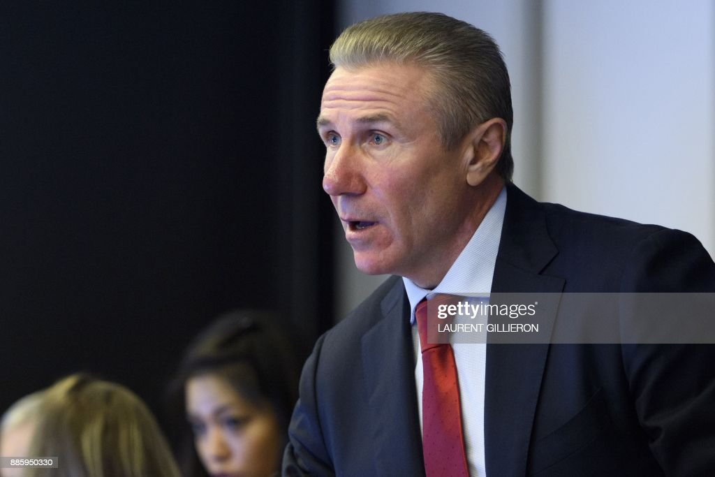 International Olympic Committee (IOC) member Sergey Bubka from Ukraine speaks during the opening of the first day of the executive board meeting of the International Olympic Committee (IOC) at the IOC headquarters, in Pully near Lausanne, on December 5, 2017. The International Olympic Committee meets to decide whether to bar Russia from the 2018 Winter Olympics for doping violations, in one of the weightiest decisions ever faced by the Olympic movement. /
