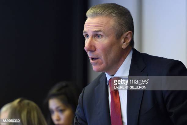 International Olympic Committee member Sergey Bubka from Ukraine speaks during the opening of the first day of the executive board meeting of the...