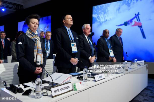 International Olympic Committee members Britain's Princess Anne Puerto Rico's Richard Carrion Britain's Craig Reedie Barbados' Austin Sealy and...
