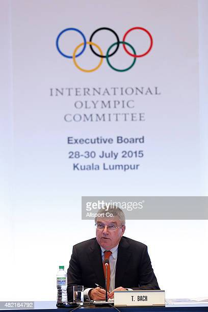 International Olympic Committee President and 1976 Olympic Fencing Champion Thomas Bach speaks during the IOC Executive Board Meeting prior to the...