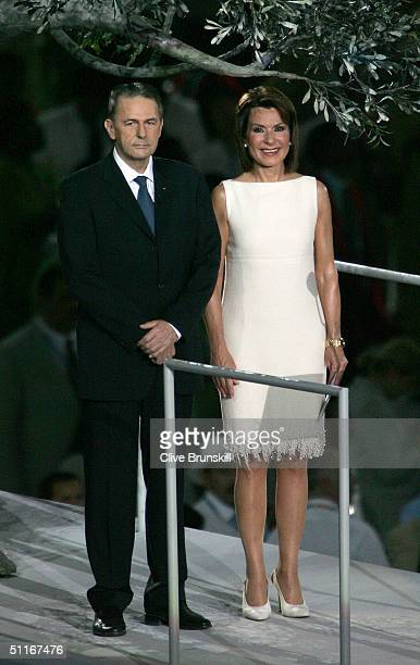 International Olympic Committee President Dr Jacques Rogge and President of the Athens Organizing Committee Gianna Angelopoulos-Daskalaki attend the...