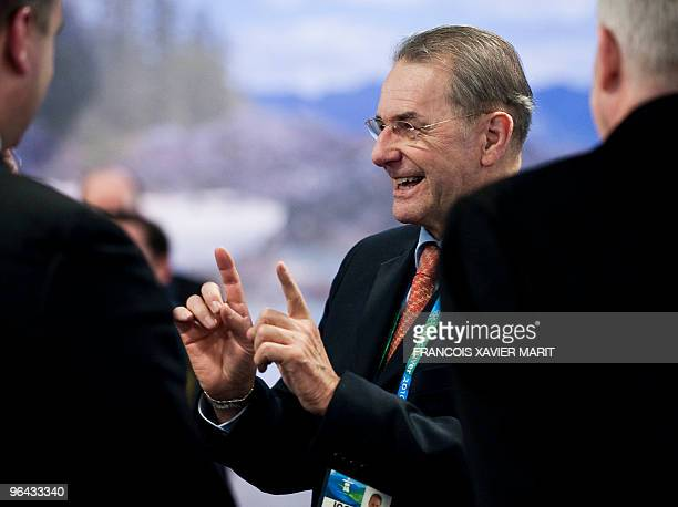 International Olympic Committee President Jacques Rogge jokes upon arrival at the Vancouver International Airport on February 4, 2010. AFP PHOTO /...