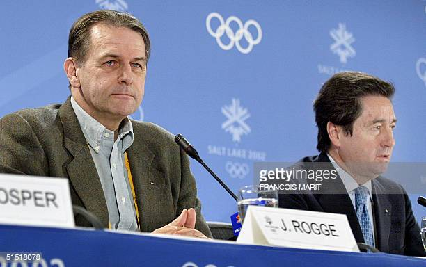International Olympic Committee President Jacques Rogge listens to International Skating Union President Octavio Cinquanta during their press...