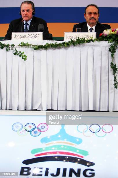 International Olympic Committee President Jacques Rogge speaks as Mario Vazquez Rana President of the Association of National Olympic Committees...