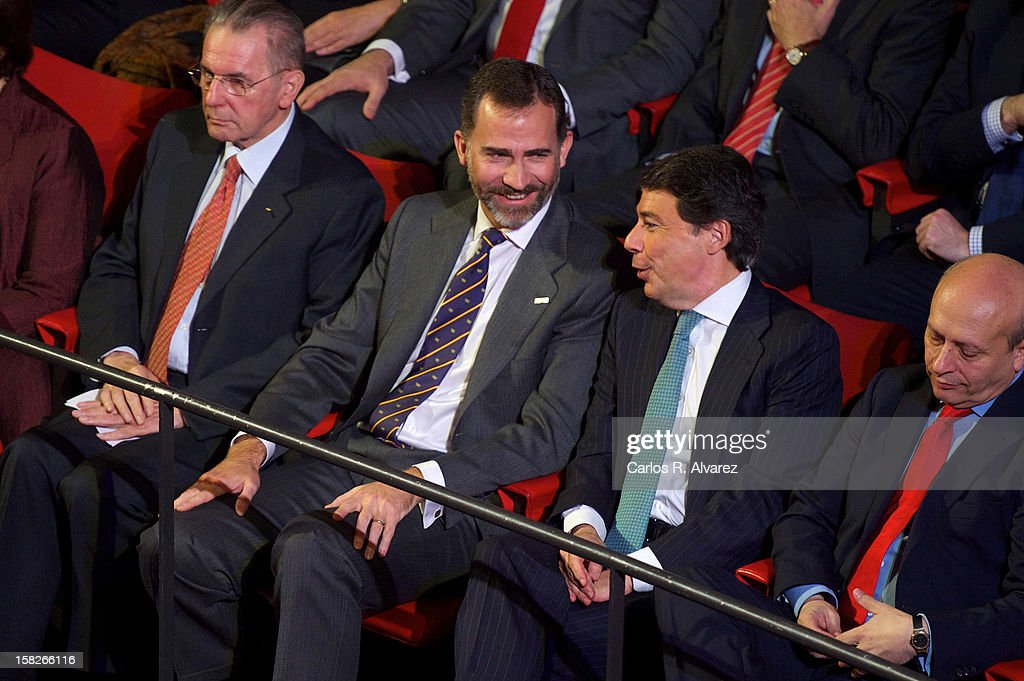 International Olympic Committee (CIO) President Jaques Rogge, Prince Felipe of Spain, Madrid Regional President Ignacio Gonzalez and Spain's Minister for Education, Culture and Sport Jose Ignacio Wert Ortega attend Spanish Olympic Commitee Centenary Gala at El Canal theater on December 12, 2012 in Madrid, Spain.