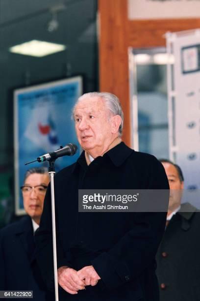 International Olympic Committee President Juan Antonio Samaranch addresses on arrival at JR Nagano Station ahead of the Nagano Winter Olympic Games...