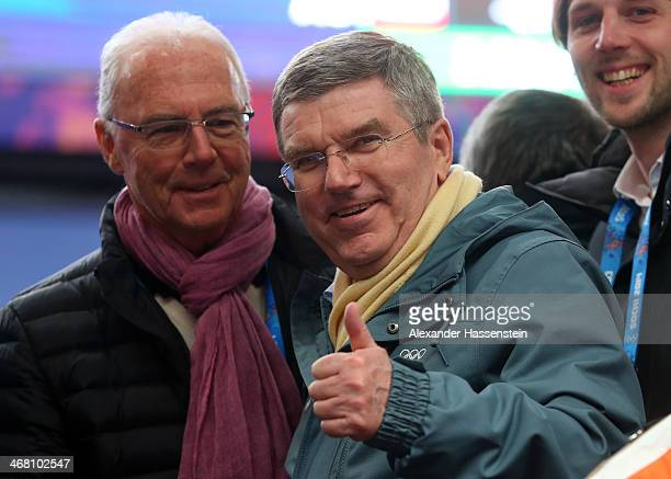 International Olympic Committee President Thomas Bach and Franz Beckenbauer attend the Men's Luge Singles on Day 2 of the Sochi 2014 Winter Olympics...