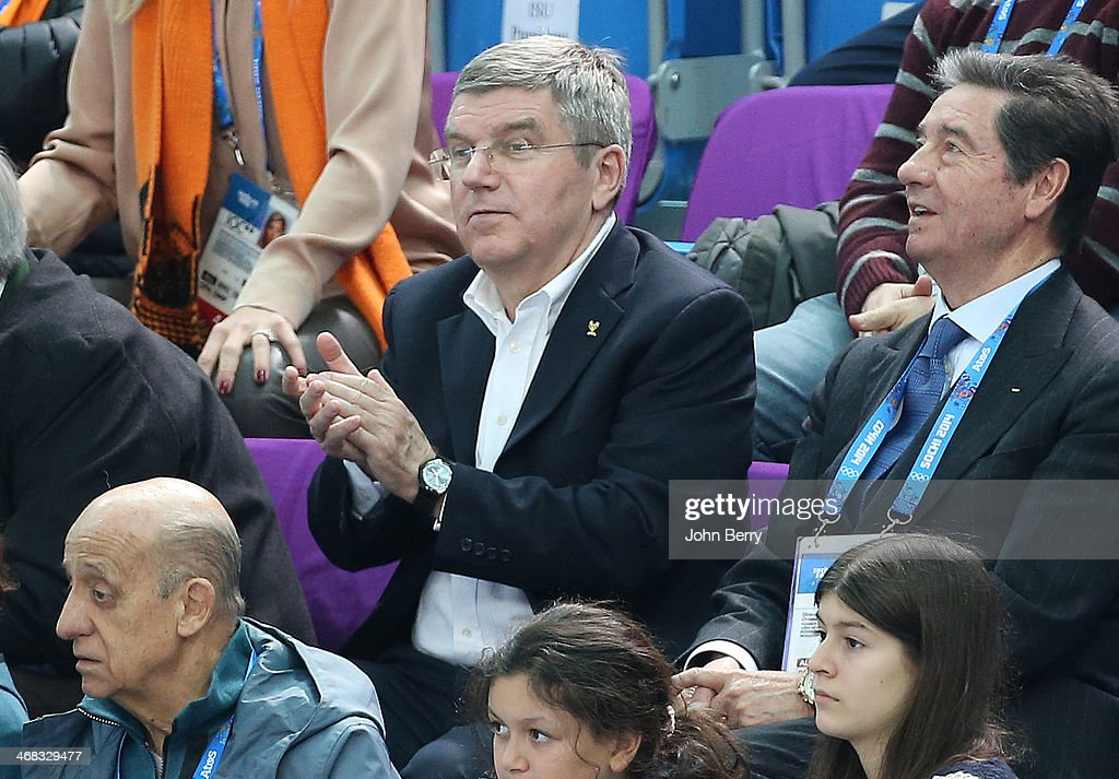 International Olympic Committee (IOC) President Thomas Bach and International Skating Union President Ottavio Cinquanta attend the Short Track events on day 3 of the Sochi 2014 Winter Olympics at Iceberg Skating Palace on February 10, 2014 in Sochi, Russia.