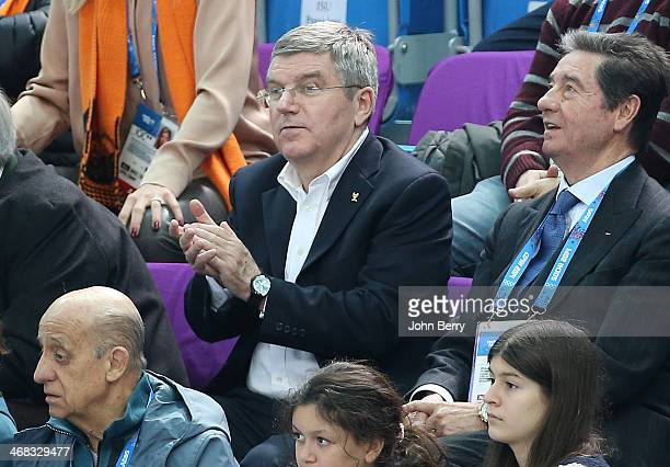 International Olympic Committee President Thomas Bach and International Skating Union President Ottavio Cinquanta attend the Short Track events on...