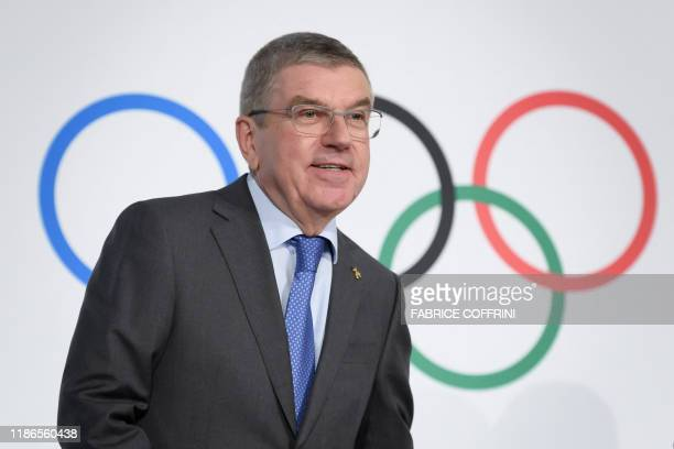 International Olympic Committee president Thomas Bach arrives to a press conference following an executive board meeting at the IOC headquarters in...