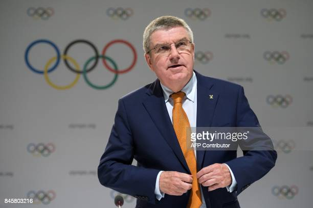International Olympic Committee President Thomas Bach arrives to deliver a press conference ahead of the IOC Session in Lima on September 11 2017 For...