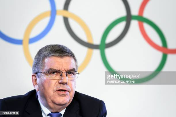International Olympic Committee President Thomas Bach attends a press conference following an executive meeting on Russian doping on December 5 2017...