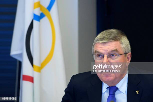 International Olympic Committee president Thomas Bach from Germany speaks prior to the opening of the first day of the executive board meeting of the...