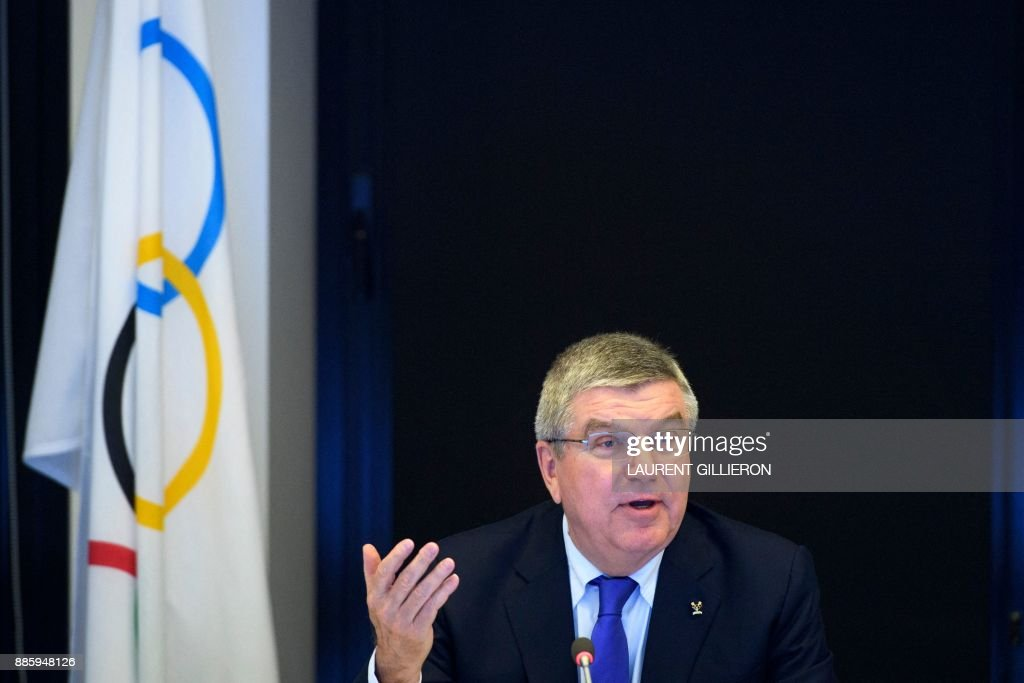 International Olympic Committee (IOC) president Thomas Bach from Germany speaks prior to the opening of the first day of the executive board meeting of the International Olympic Committee (IOC) at the IOC headquarters, in Pully near Lausanne, on December 5, 2017. The International Olympic Committee meets to decide whether to bar Russia from the 2018 Winter Olympics for doping violations, in one of the weightiest decisions ever faced by the Olympic movement. /