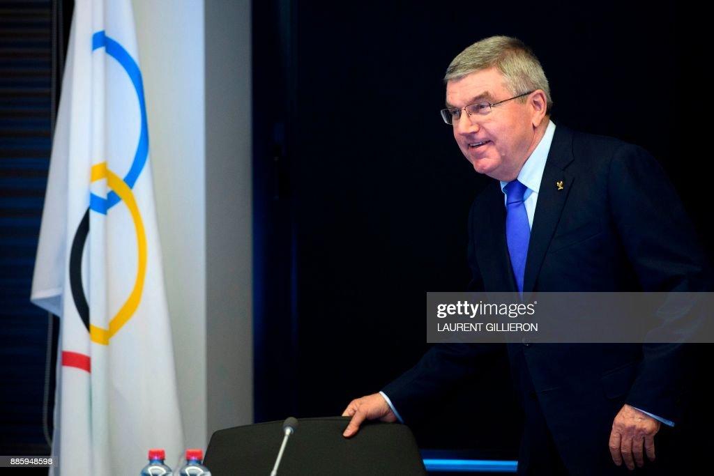 International Olympic Committee (IOC) president Thomas Bach from Germany arrives for the opening of the first day of the executive board meeting of the International Olympic Committee (IOC) at the IOC headquarters, in Pully near Lausanne, on December 5, 2017. The International Olympic Committee meets to decide whether to bar Russia from the 2018 Winter Olympics for doping violations, in one of the weightiest decisions ever faced by the Olympic movement. /