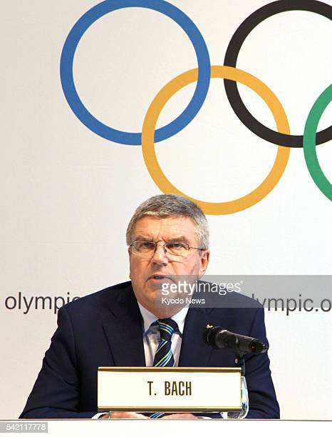 International Olympic Committee President Thomas Bach holds a press conference after the Olympic Summit at the IOC headquarters in Lausanne...