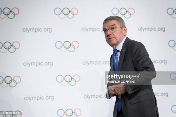 International Olympic Committee president Thomas Bach leaves a press conference following an executive board meeting at the IOC headquarters in...
