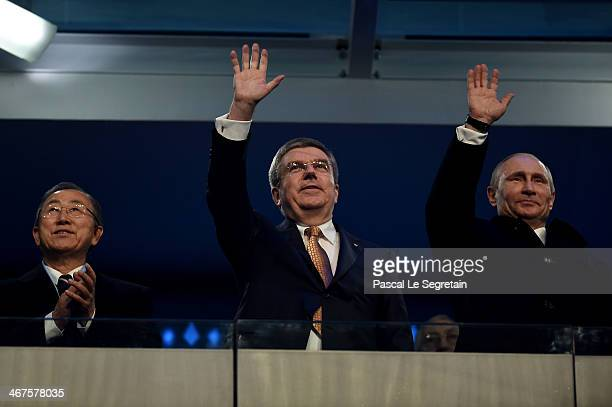 International Olympic Committee President Thomas Bach Russian President Vladimir Putin and UN Secretary General Ban Kimoon attend the Opening...