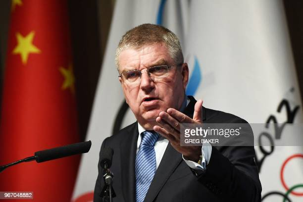 International Olympic Committee President Thomas Bach speaks at the opening session of the Pyongchang 2018 Debrief meeting in Beijing on June 4 2018...