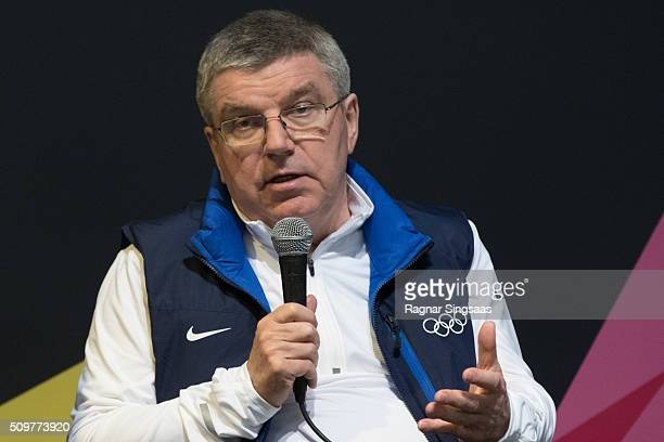 International Olympic Committee President Thomas Bach speaks during a press conference prior to the 2016 Youth Olympic Games on February 12 2016 in...