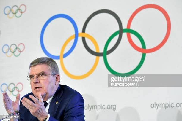 International Olympic Committee President Thomas Bach speaks during a press conference closing an IOC executive meeting on December 6 2017 in...