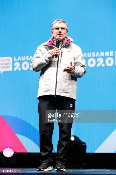 International Olympic Committee President Thomas Bach speaks during the Closing Ceremony on the 13 day of Winter Youth Olympic Games Lausanne 2020 on...