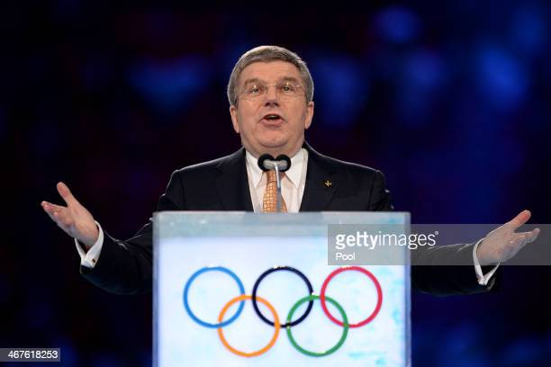 International Olympic Committee President Thomas Bach speaks during the opening ceremony of the Sochi 2014 Winter Olympics at the Fisht Olympic...