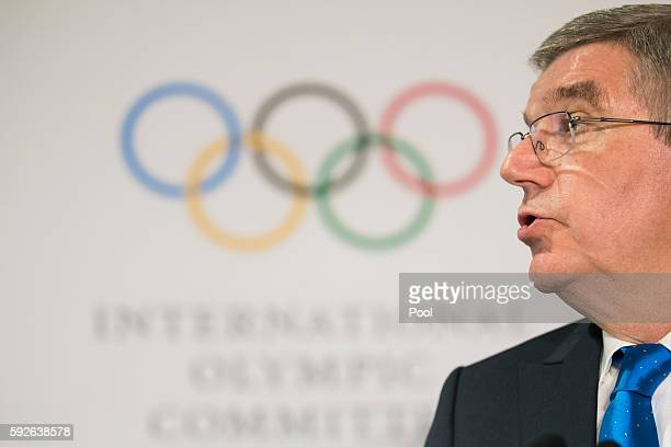 International Olympic Committee President Thomas Bach speaks during the IOC 129th Session at the 2016 Summer Olympics August 21 2016 in Rio de...