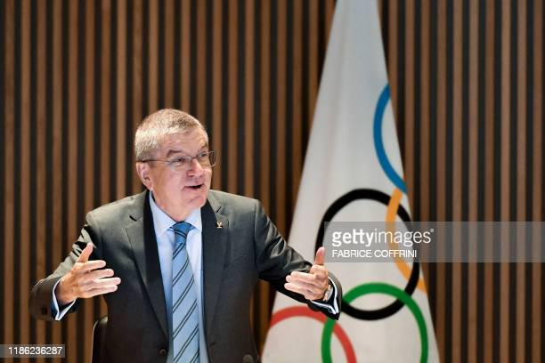 International Olympic Committee president Thomas Bach takes part in an executive board meeting at the IOC headquarters in Lausanne, on December 3,...
