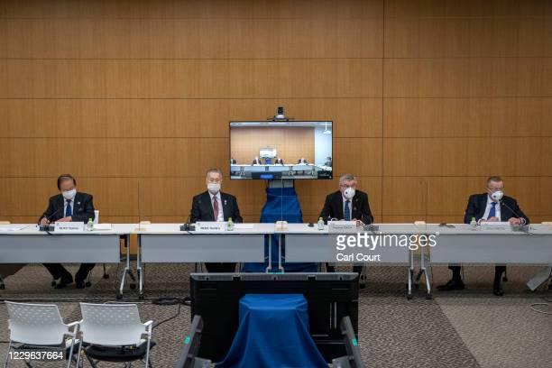 International Olympic Committee President Thomas Bach , Tokyo 2020 President Mori Yoshiro , Tokyo 2020 Olympic Games CEO Toshiro Muto and chairman of...