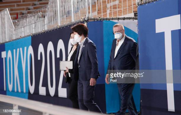 International Olympic Committee Vice President John Coates and Tokyo 2020 President Seiko Hashimoto arrive for a venue inspection at Ariake...