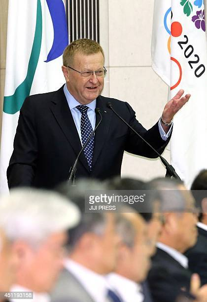 International Olympic Committee vice president John Coates delivers a speech at a meeting with Japan's organizers of the 2020 summer Olympic Games at...
