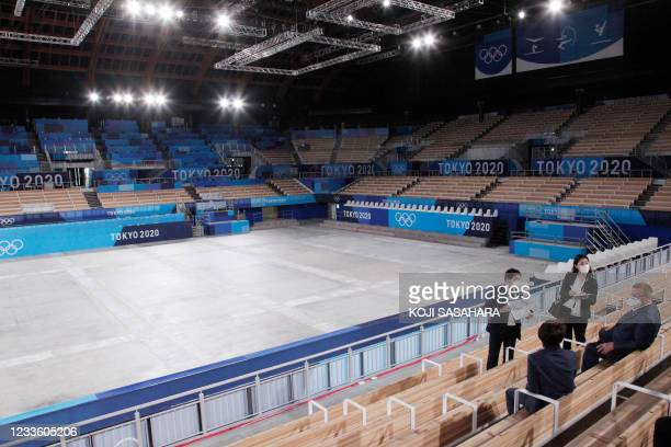 International Olympic Committee Vice President John Coats visits the Ariake Gymnastics Centre for inspection of olympics venue in Tokyo