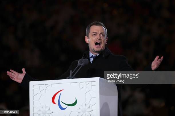 International Paralympic Committee President Andrew Parsons addresses during the closing ceremony of the 2018 Winter Paralympics at the PyeongChang...