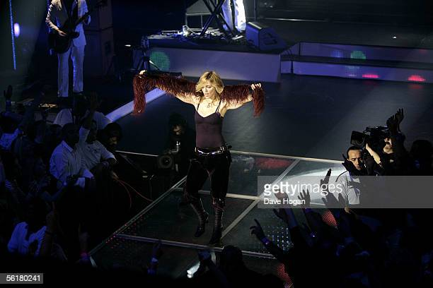 """International pop star Madonna performs to celebrate today's release of her new album """"Confessions On A Dancefloor"""" at Koko Camden on November 15,..."""