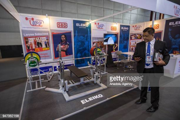 International Powerlifting Federation stand is seen during the third day of Sport Accord 2018 at the Centara Grand Bangkok Convention Centre in...