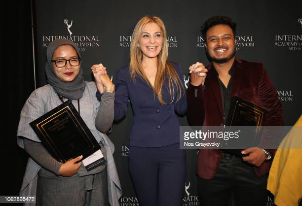 International President Michal Grayevsky poses with YCA Winners Puti Puar and Raj Dutta during the Young Creatives Awards Ceremony on November 16...